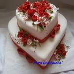 Srdcový svatební v červené