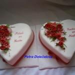 Srdcový svatební v červené do sady