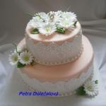 Svatební růžový s jedlou krajkou