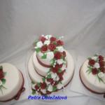 Svatební bordó a bílé růže -sada